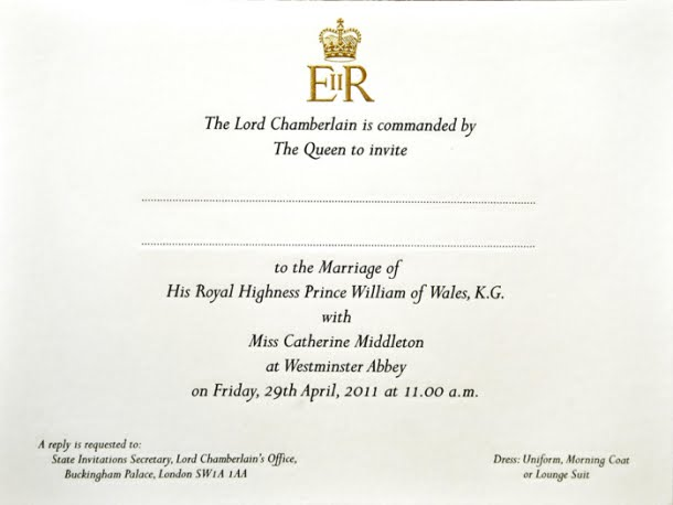 will and kate royal wedding invitation. and Kate#39;s Royal Wedding