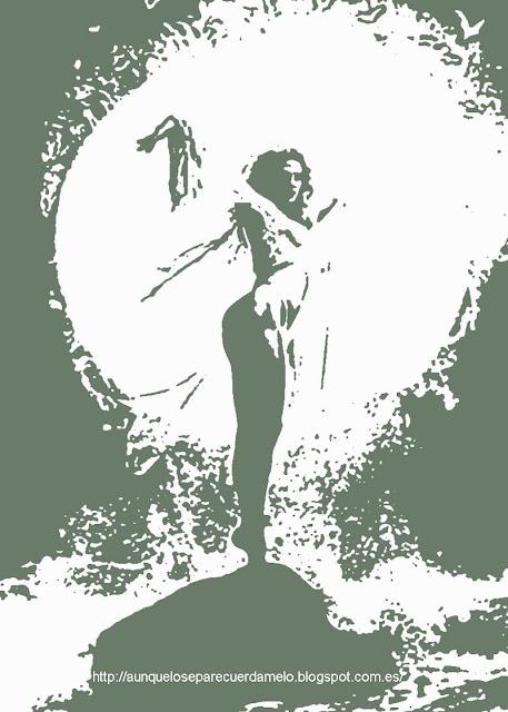ilustracion de una mujer sobre una roca en el mar gf7
