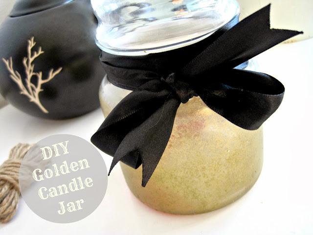 DIY Golden Candle Jar holder mason jar