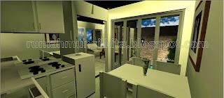 kitchen set mungil minimalis putih menyatu dengan meja makan