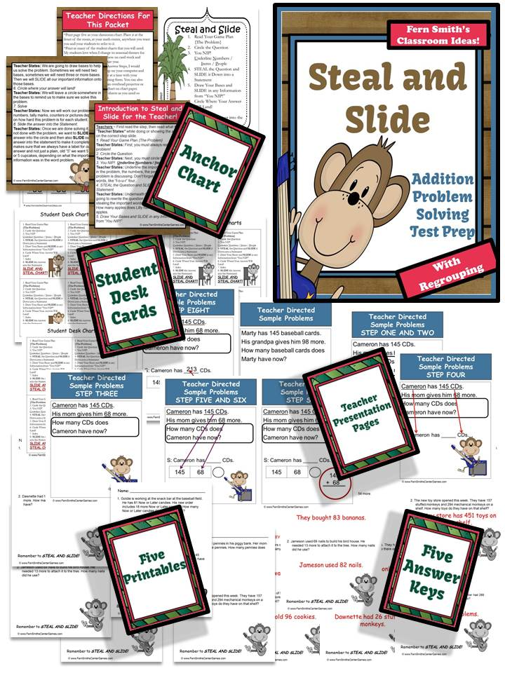 Fern Smith's Test Prep Monkey Steal and Slide Method - Addition With Regrouping