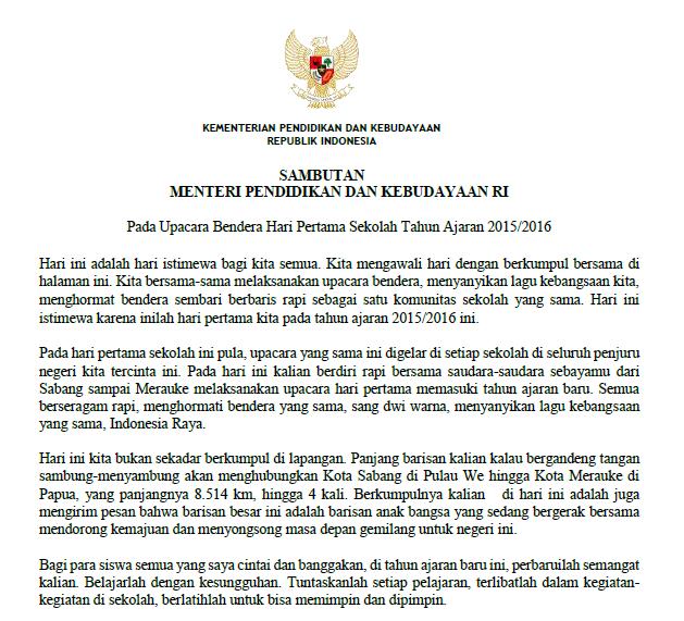 Download Teks Sambutan Mendikbud Pada Hari Pertama Masuk Sekolah Juli 2015