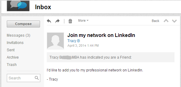 LinkedIn default invitation message