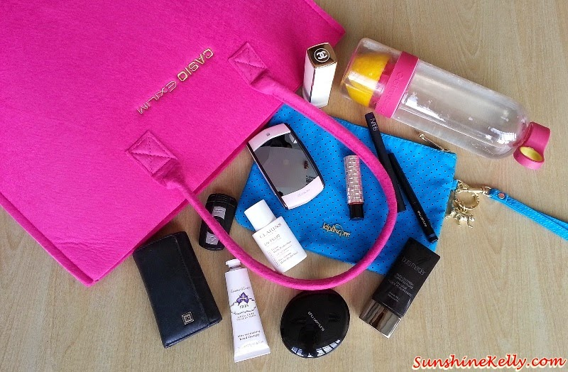 What's in my bag, Kipling Jamie Aqua cosmetic pouch; my pink citrus zinger water bottle for detox and hydration, Clarins UV Plus Day Screen Multi-Protection SP50 PA++++, Laura Mercier smooth finish flawless fluid foundation, NARS velvet shadow stick, shu uemura lightbulb uv compact foundation, shu uemura metal ink liquid eye liner, Crabtree & Evelyn Iris hand therapy, Shiseido Maquillage dramatic melting rouge #RD324, Chanel Coco Mademoiselle perfume spray, casio Ex MR1 selfie camera