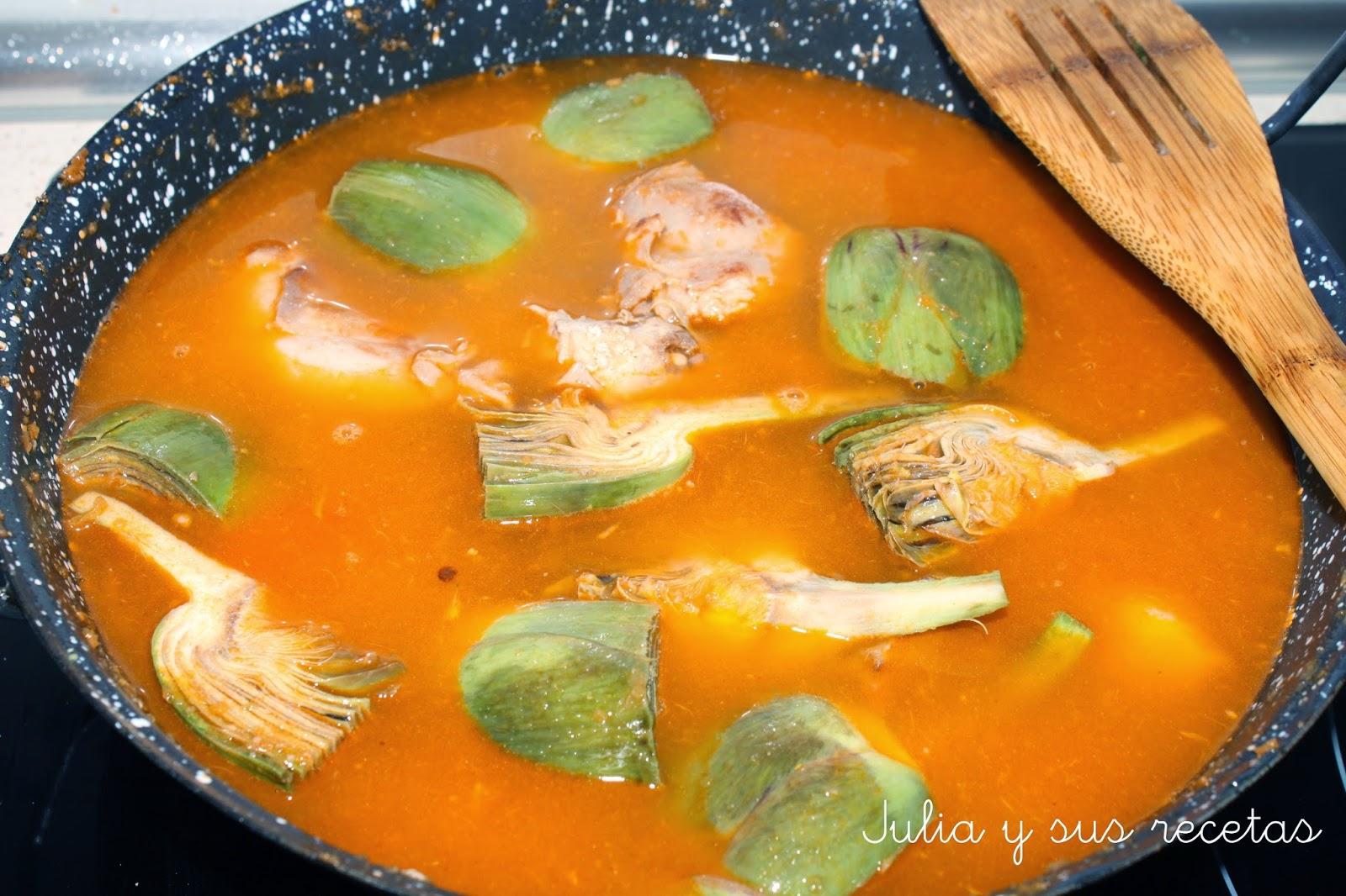 Arroz caldoso con alcachofas y conejo - Arroz caldoso con costillas y alcachofas ...