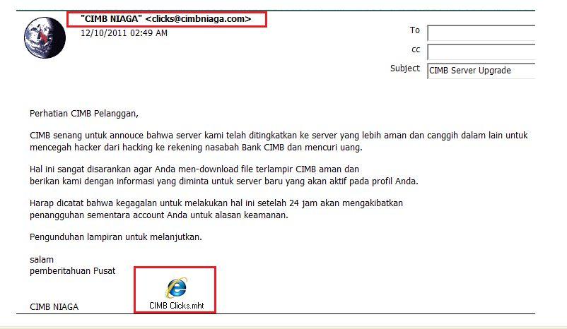 Email Phishing Malware Menyerang Nasabah Bank Cimb Niaga Diptara