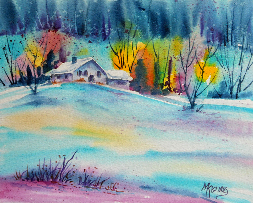 Original watercolor art for sale - A Winter Day And The Art Biz Blog By Alyson B Stanfield Winter Day Watercolor 8x10 Purchase Info