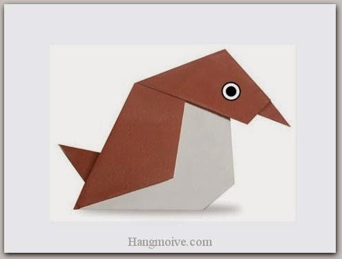 Cách gấp, xếp con chim sẻ đi nắng bằng giấy origami - Video hướng dẫn xếp hình Động vật - How to fold a Sparrow
