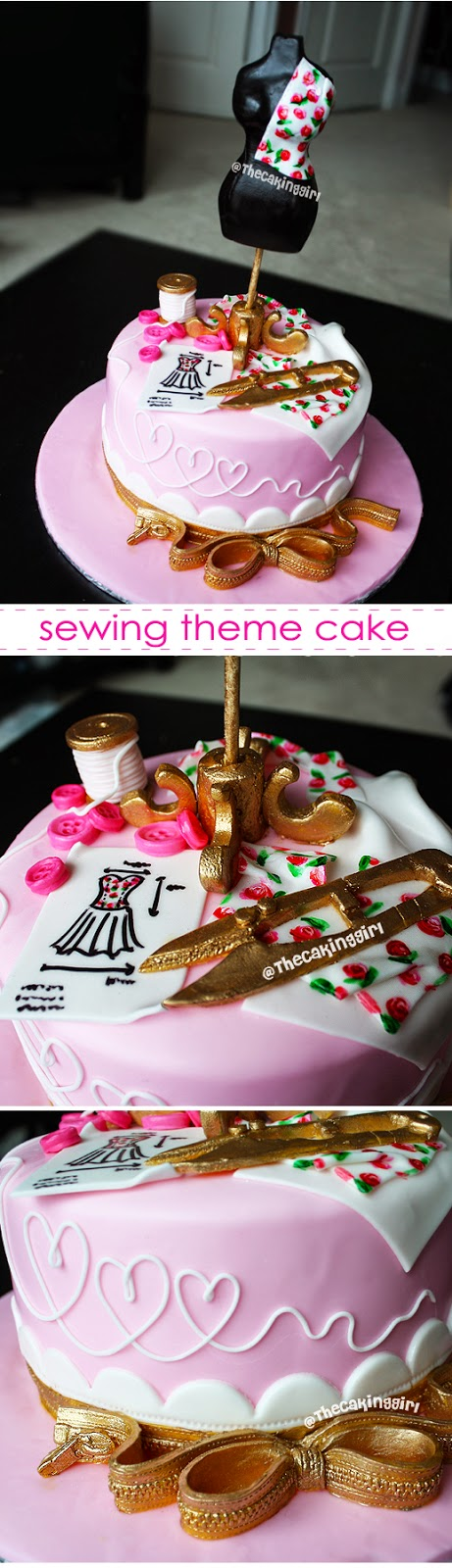 pretty sewing theme cake
