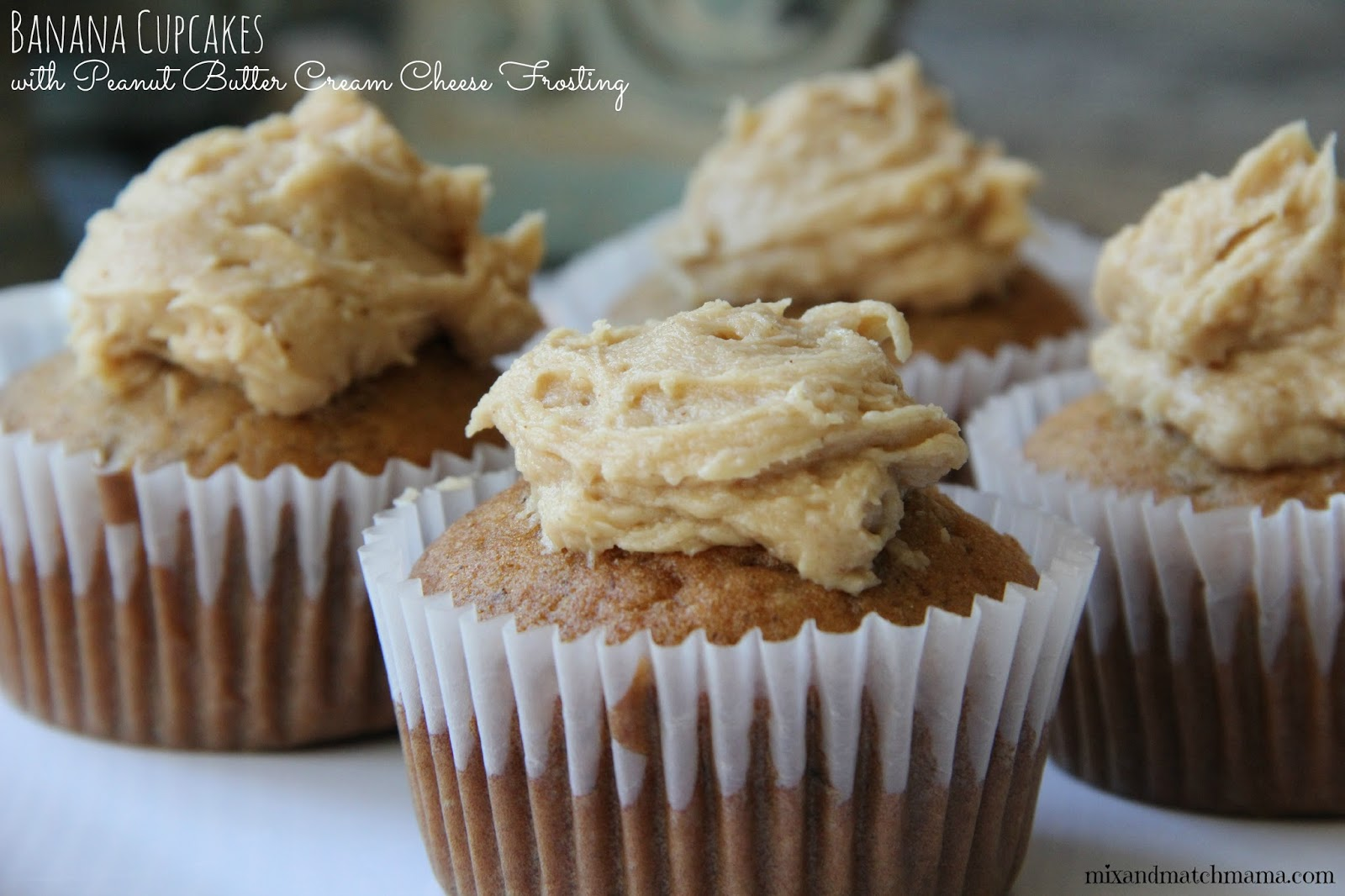 Banana Cupcakes With Peanut Butter Frosting Recipe — Dishmaps