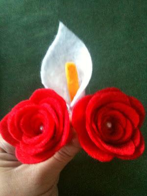calas rosas fieltro