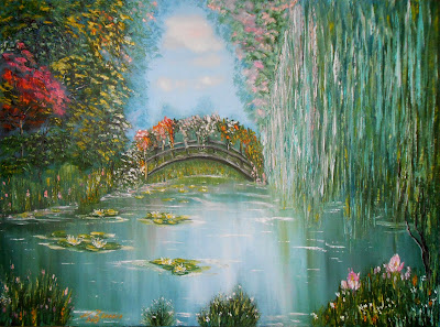 "Russian modern art in style impressionism palette knife on canvas ""Summer Pond with the water-lilies""."