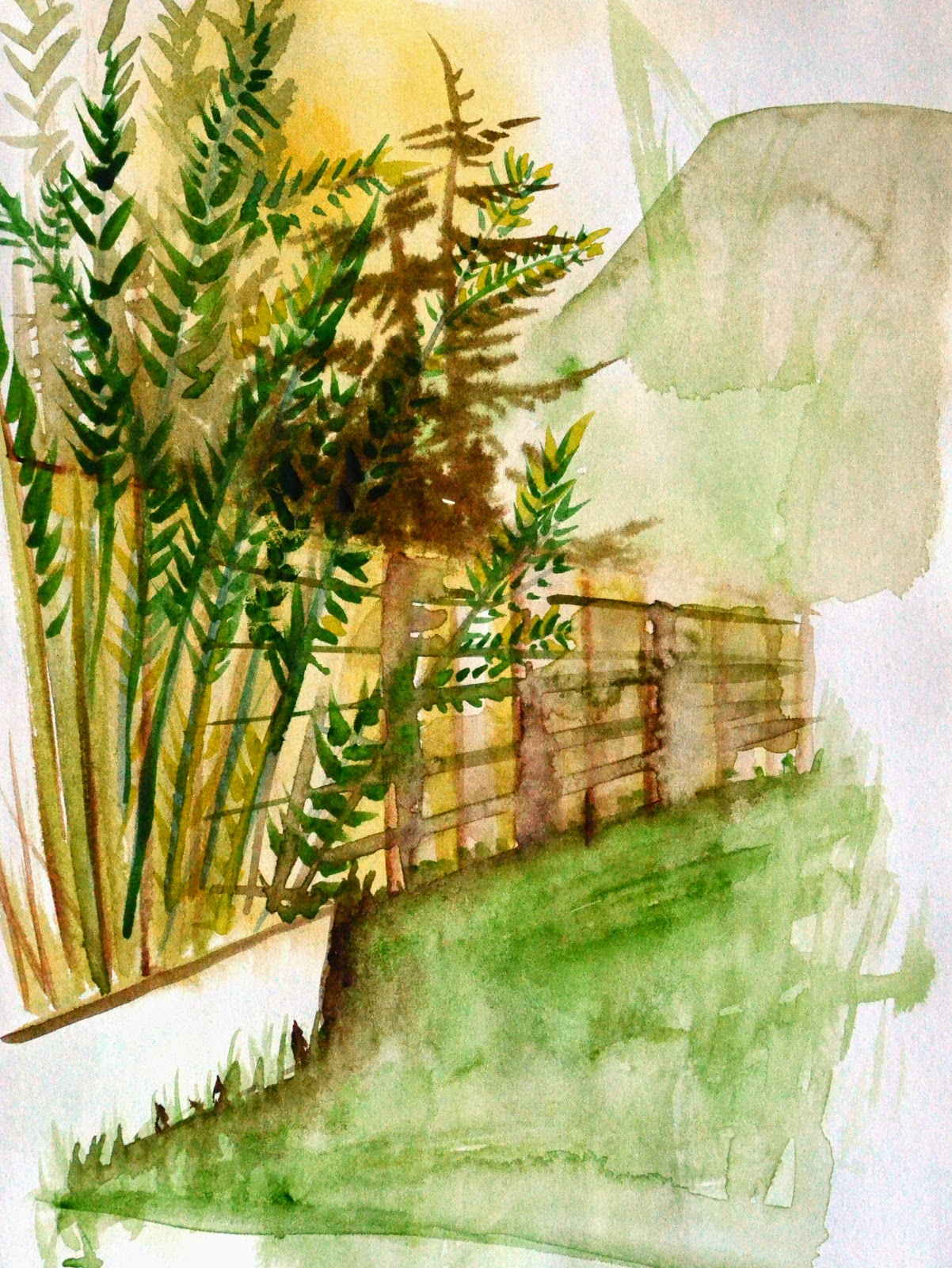 Hannah Redden Garden View in Watercolour 2