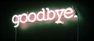 Light lit goodbye sign
