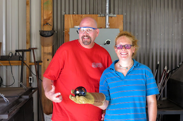 Bubba and Amy with finished glass ornament
