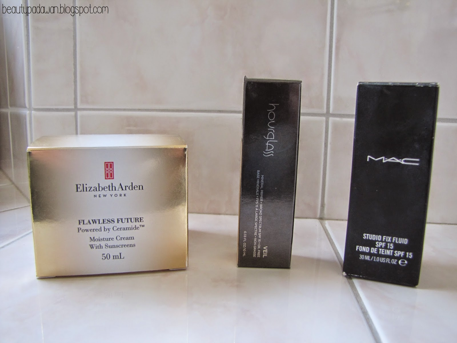 Elizabeth Arden Flawless Future Moisture Cream; Hourglass Veil Mineral Primer; MAC Studio Fix Fluid SPF15 Liquid Foundation