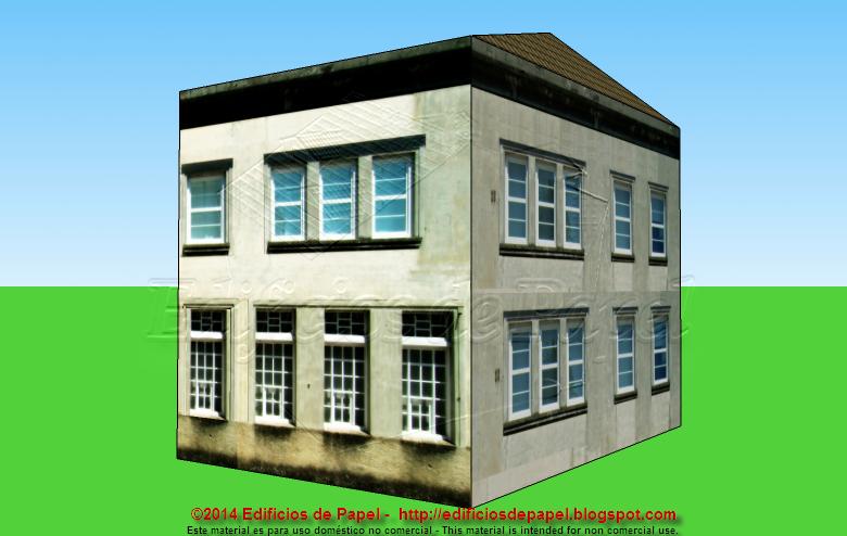 Fachada trasera del edificio de papel