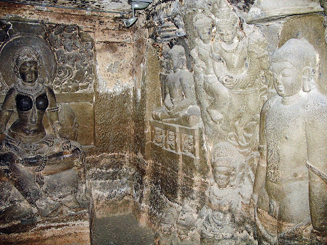 buddha rock-cut sculptures at Ellora
