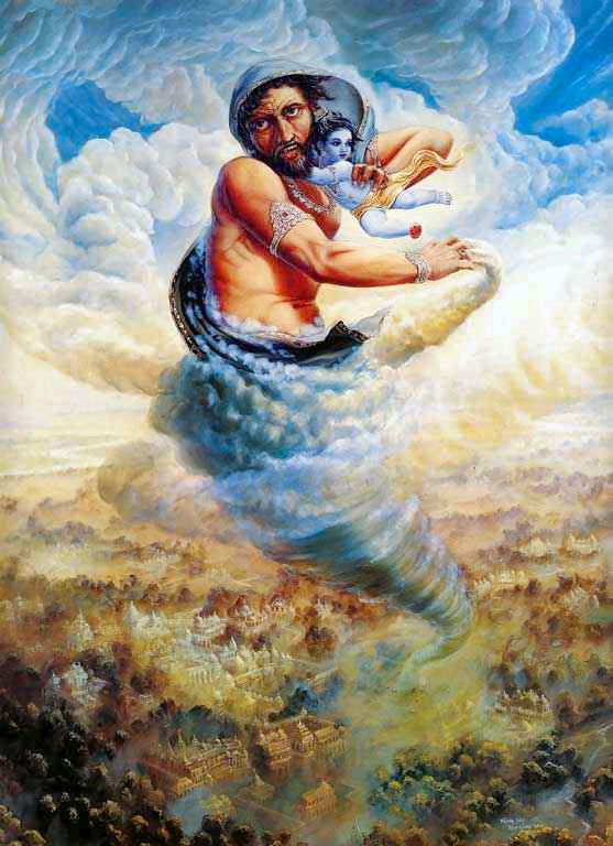 Trinavarta taking baby Krishna high in sky
