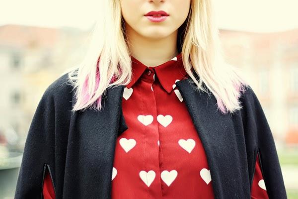 heart print shirt Massimo Dutti cape H&M leather pants
