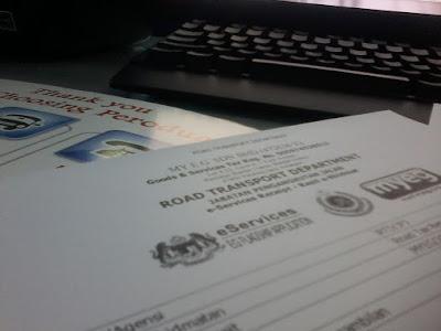 Perbaharui cukai jalan road tax kenderaan dengan myeg