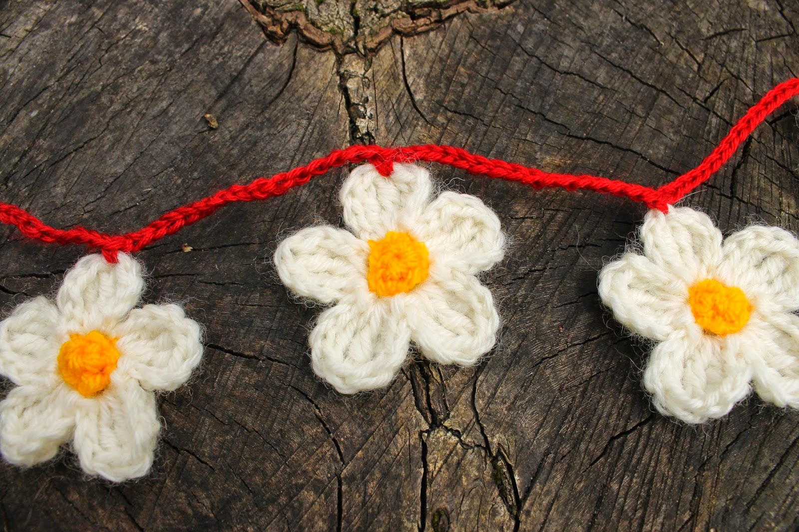 yellow white red cute crochet flower bunting  handmade
