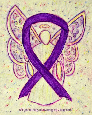 Purple Awareness Ribbon Guardian Angel Art Original Painting