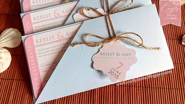 Pink and Blue Boarding Pass Wedding Card, Shangri-la Hotel Kota Kinabalu, Sabah