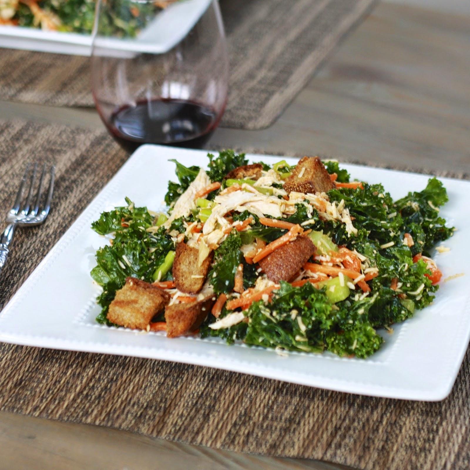 Buffalo Chicken Kale Salad | The Sweets Life