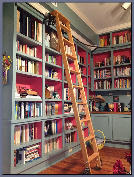 Library Rolling Bookshelf with Ladder