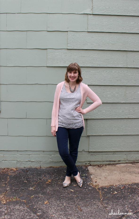 pale pink cardigan, lace top, dark jeans, snakeskin flats | www.shealennon.com