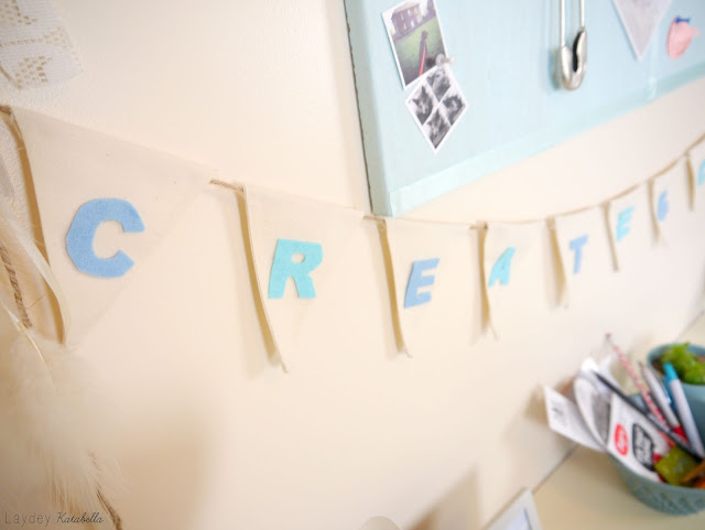 blue and cream craft room