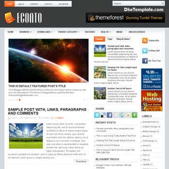 Econto blog template. magazine blogger template style. magazine style template blogspot. 3 column blogspot template