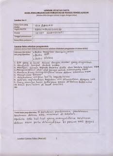 contoh lembar catatan fakta penilain dan pengamatan PKG