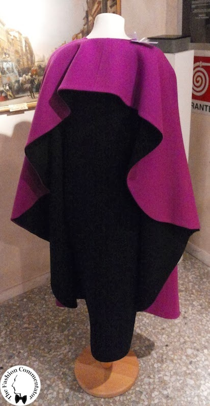 Valentina Cortese - Mostra Milano - Roberto Capucci cape and dress