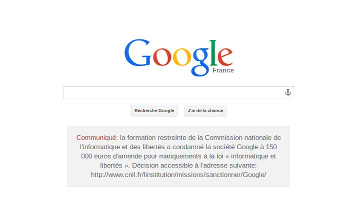 Google shamed and forced by France to Display 'Privacy Violation Fine' Notice on its homepage