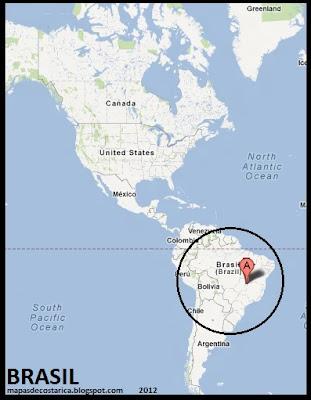 Ubicación de Brasil en América, Google Maps 2012