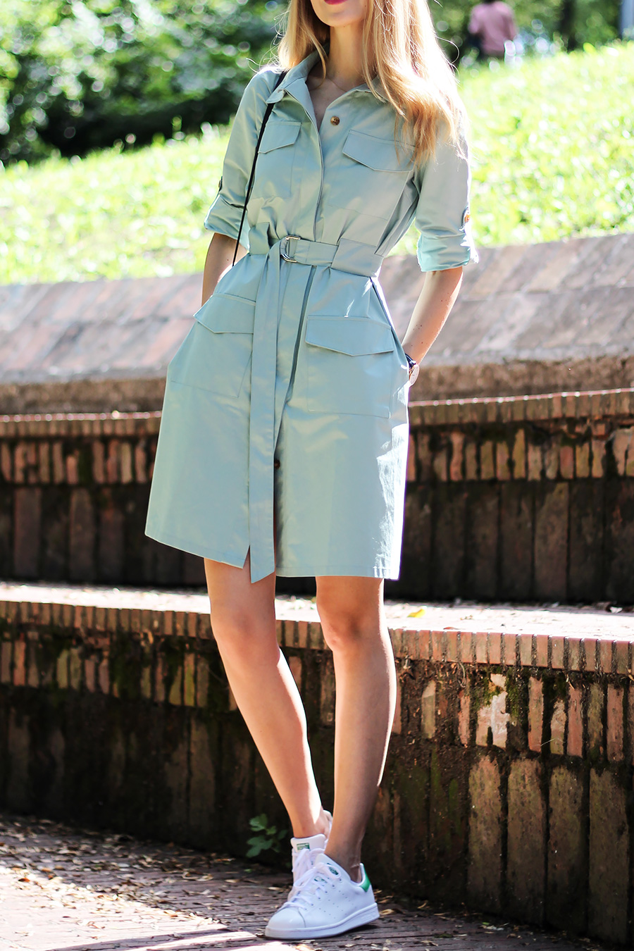 Belted shirt dress and Adidas Stan Smith sneakers, casual summer outfit