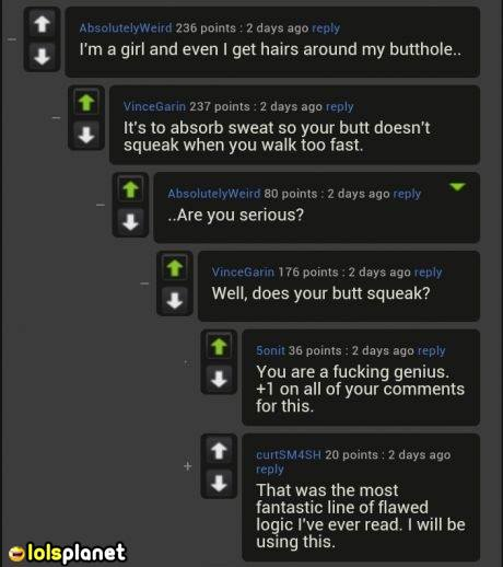 funny logic behind butt hairs, what is butt hair for. lmao, lol, funny, logic, epic comments, imgur comments