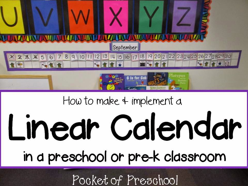 Linear Calendar Preschool : How to make and implement a linear calendar pocket of