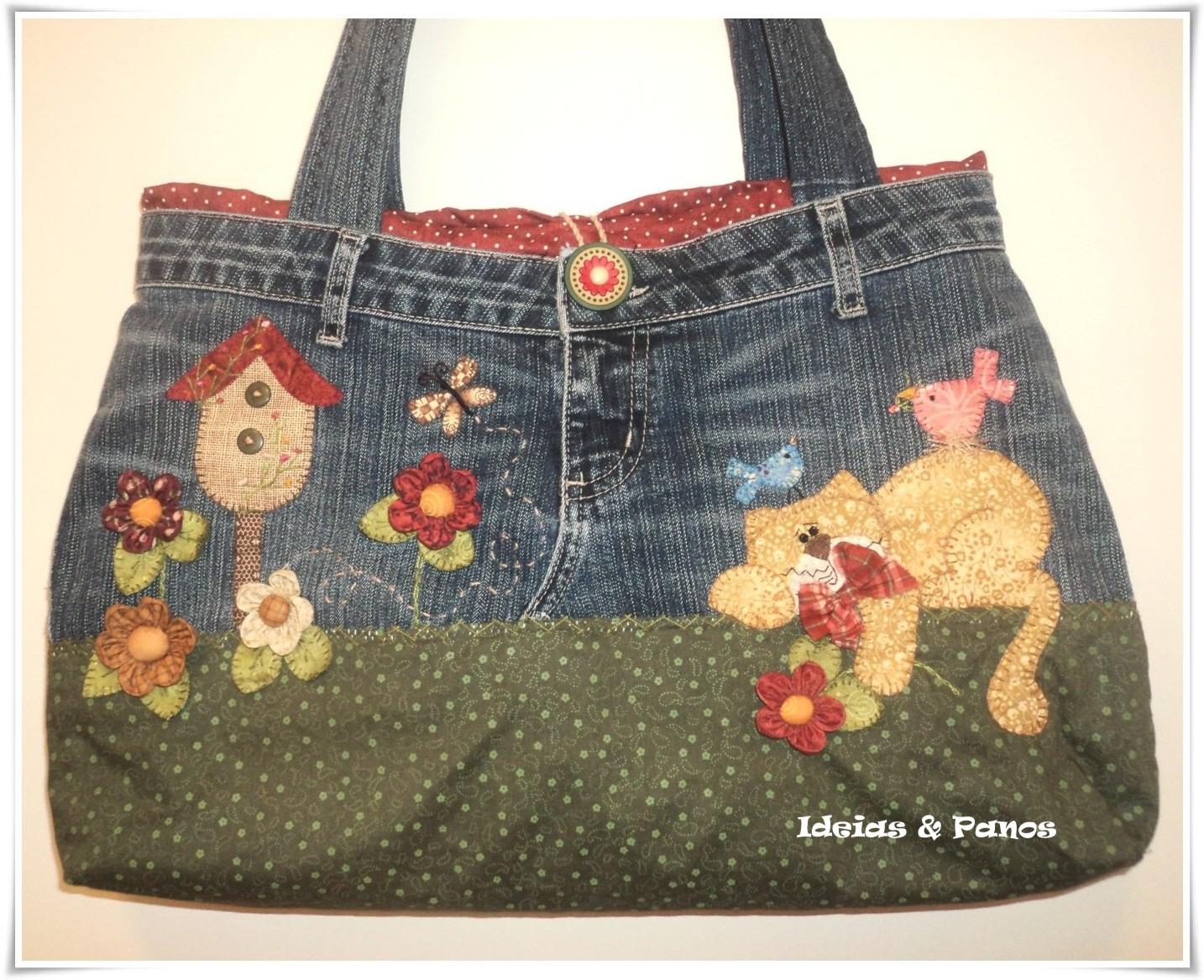 Bolsa De Tecido E Jeans : Nova criativa bolsa de cal?a jeans