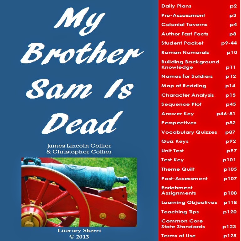 http://www.teacherspayteachers.com/Product/My-Brother-Sam-Is-Dead-Complete-Unit-Grades-7-8-673708