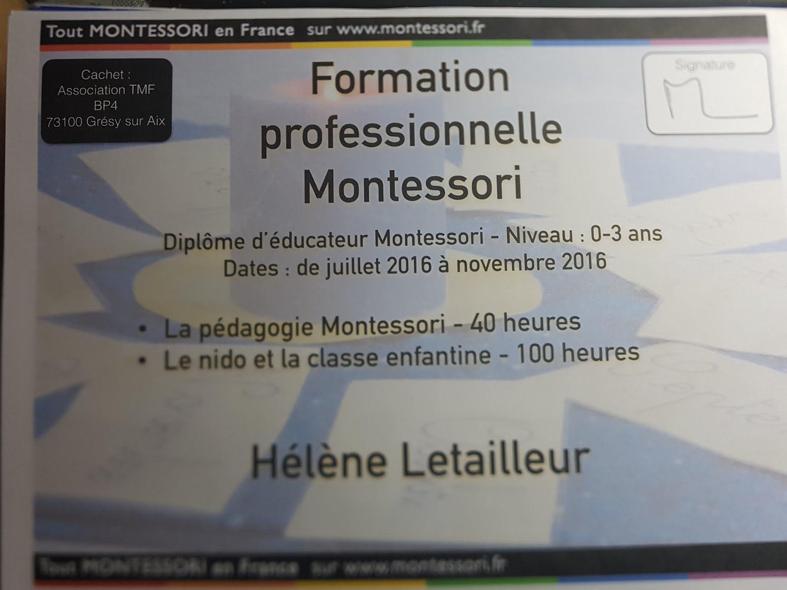 Mme Hélène Letailleur Diplômée Educatrice Montessori