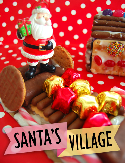 Santa's village made from cookies, chocolate and sweets