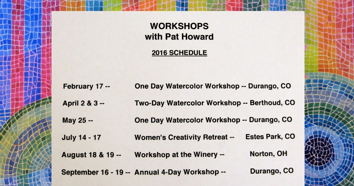 the painted prism 2016 workshop schedule. Black Bedroom Furniture Sets. Home Design Ideas