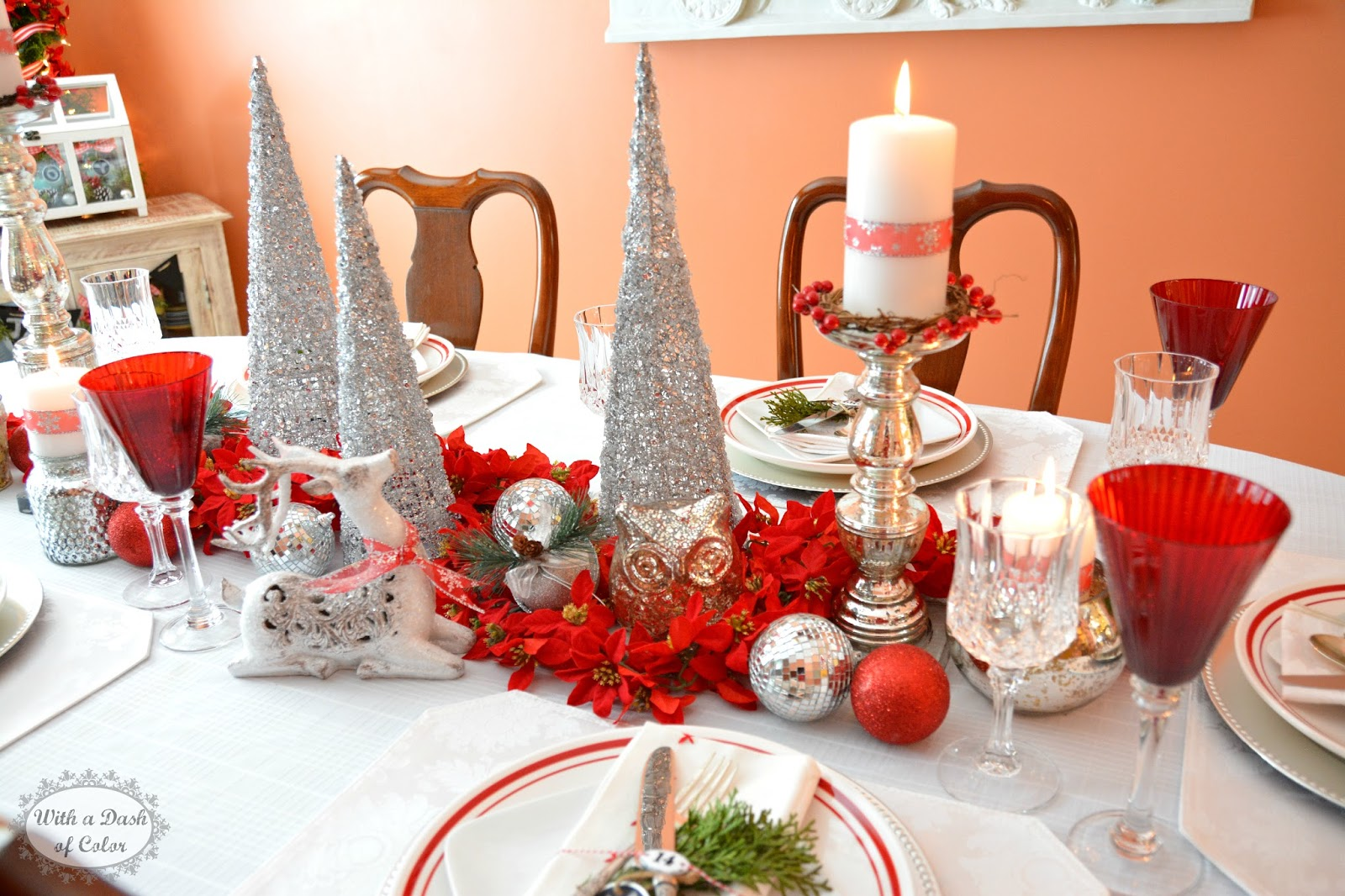 Silver and white christmas table decorations - I Wanted To Keep The Color Theme For This Tablescape Predominantly Red And White Reminiscing Of Scandinavian Holiday Colors