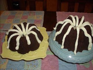 triple chocolate sour cream pudding cake w/vanilla cream cheese icing