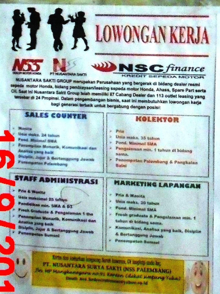 info loker di mading kantor pos merdeka palembang  09  17  13