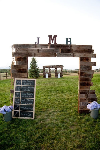 wooden palette wedding arch