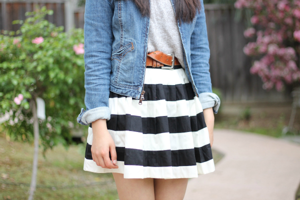 stripe skirt and jean jacket outfit